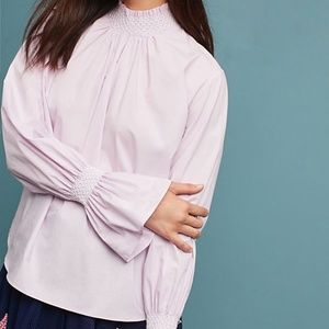 New Anthropologie Smocked Neck Poplin Blouse